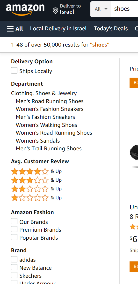 Filters and attributes on ecommerce site. Amazon - navigation filter - Lisuto