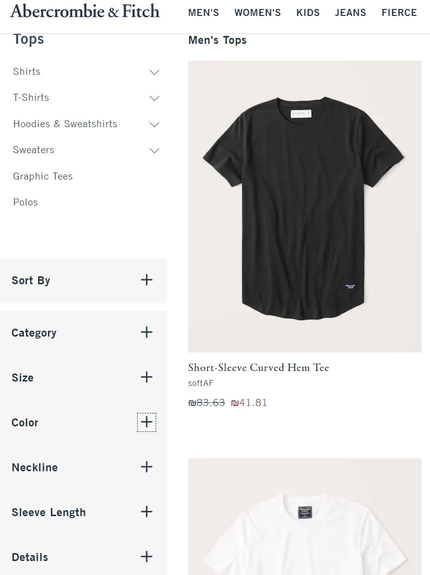 Filters and attributes on ecommerce site, Attributes / Facets on Abercrombie & Fitch - Lisuto