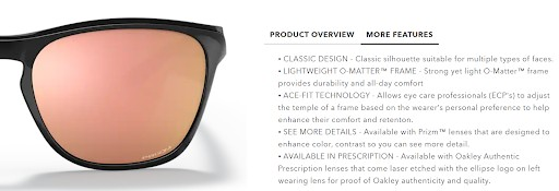 Product description with clear product benefits and features